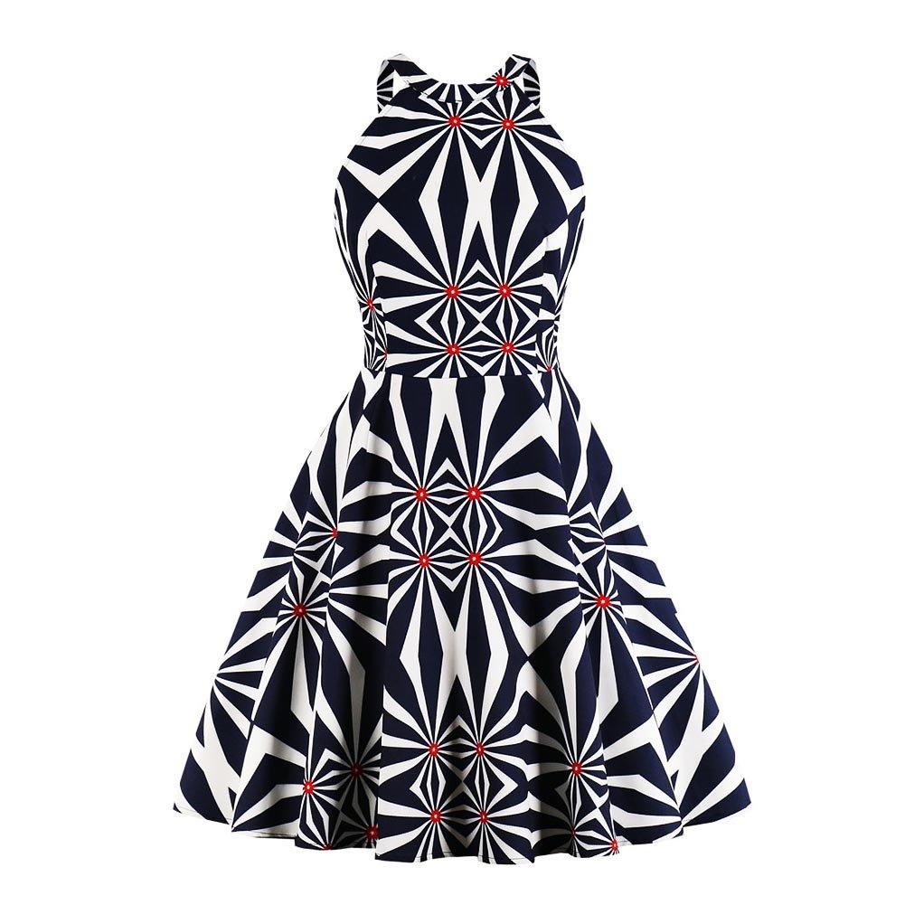 Swing Dress Vintage da Donna con Motivo a Stampa Bianco Nero Chevron Abbigliamento Senza Maniche con Scollatura sul Retro Vestito con Maniche Rockabilly Abito da Cocktail Abito da Ballo per Party Yotown