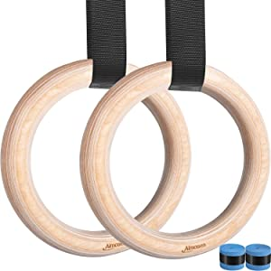 Wood Gymnastic Rings Home Gym Workout Rings Wooden Olympic Rings for Crossfit, Exercise Fitness Rings 1500lbs 15FT Adjustable Straps & Lock Buckles for Full Body Pull Ups Arm Muscle Strength Training