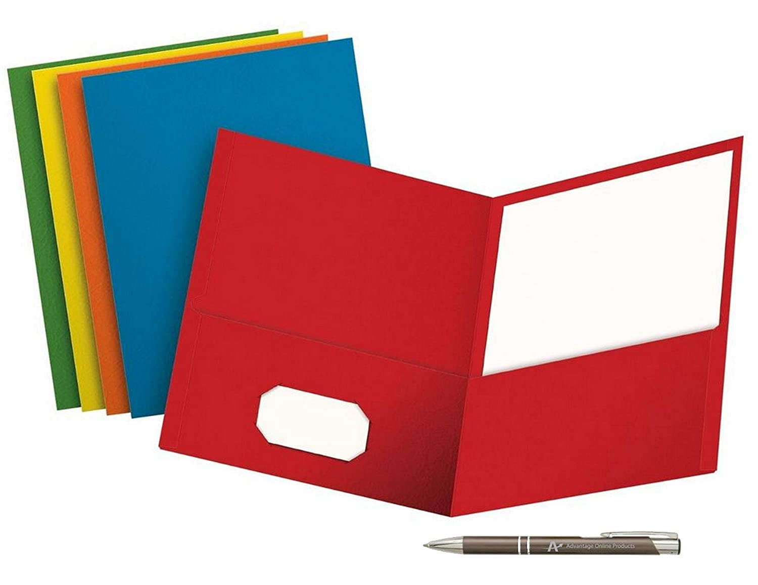 Value Pack of 5 School Grade Twin Pocket Folders; No Fasteners, 5 colors and a Bonus AdvantageOP Black and Chrome Retractable Pen. (Blue, Green, Purple, Red, Yellow) Oxford