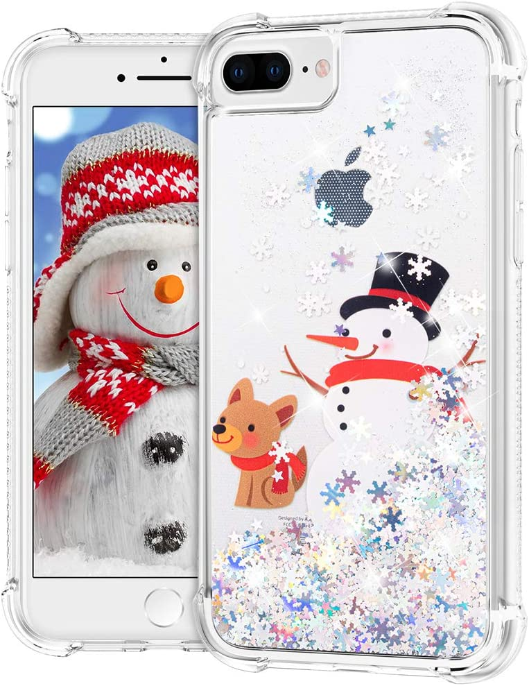 Ruky Christmas Case for iPhone 6 Plus 6s Plus 7 Plus 8 Plus, Glitter Liquid Flowing Bling Merry Christmas Pattern Design Soft TPU Fashion Cute Women Girls Children Case (Snowman & Dog)