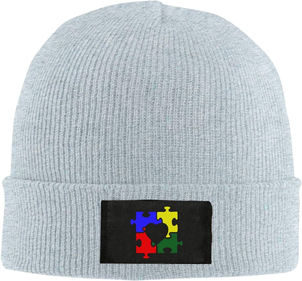 Autism Heart Puzzle Autism Awareness Women and Men Knitted Hat Stretchy Beanie Cap