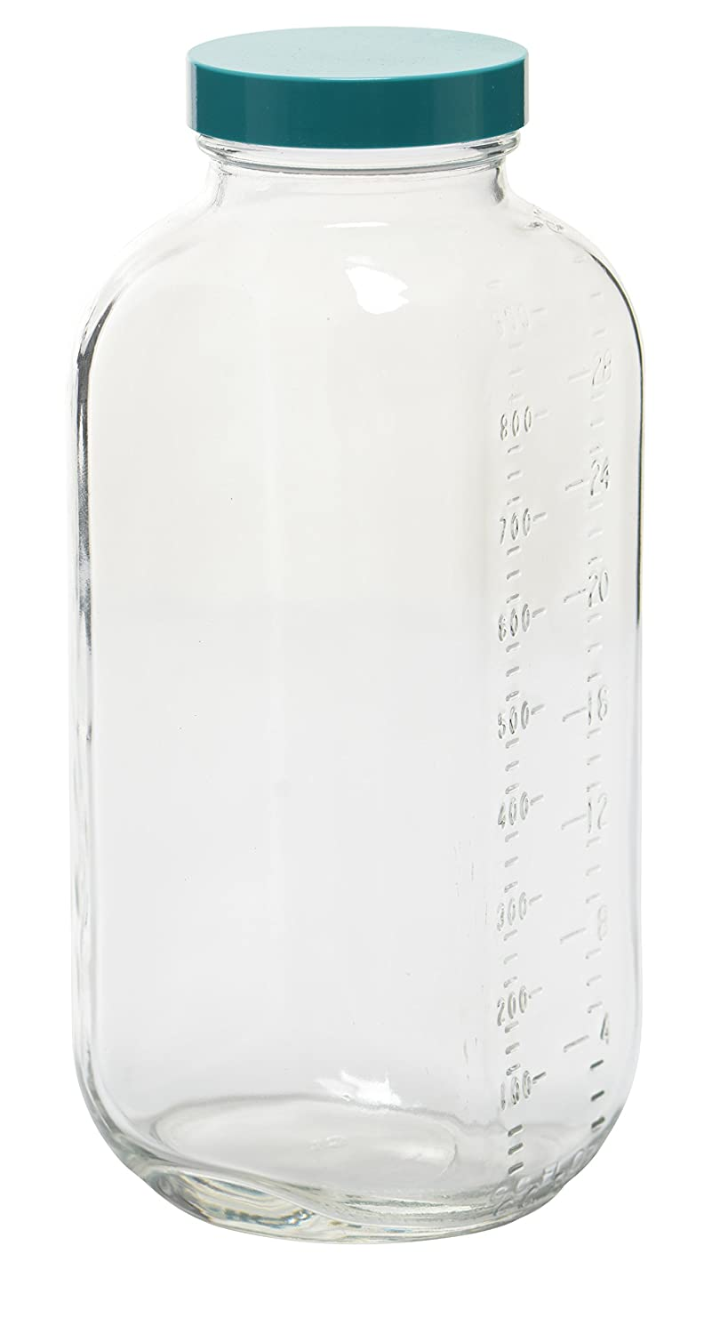 Vestil BTL-SG-G-32 Glass Square Graduated Bottle with Green Cap, 32 oz Capacity, Clear Vestil Manufacturing