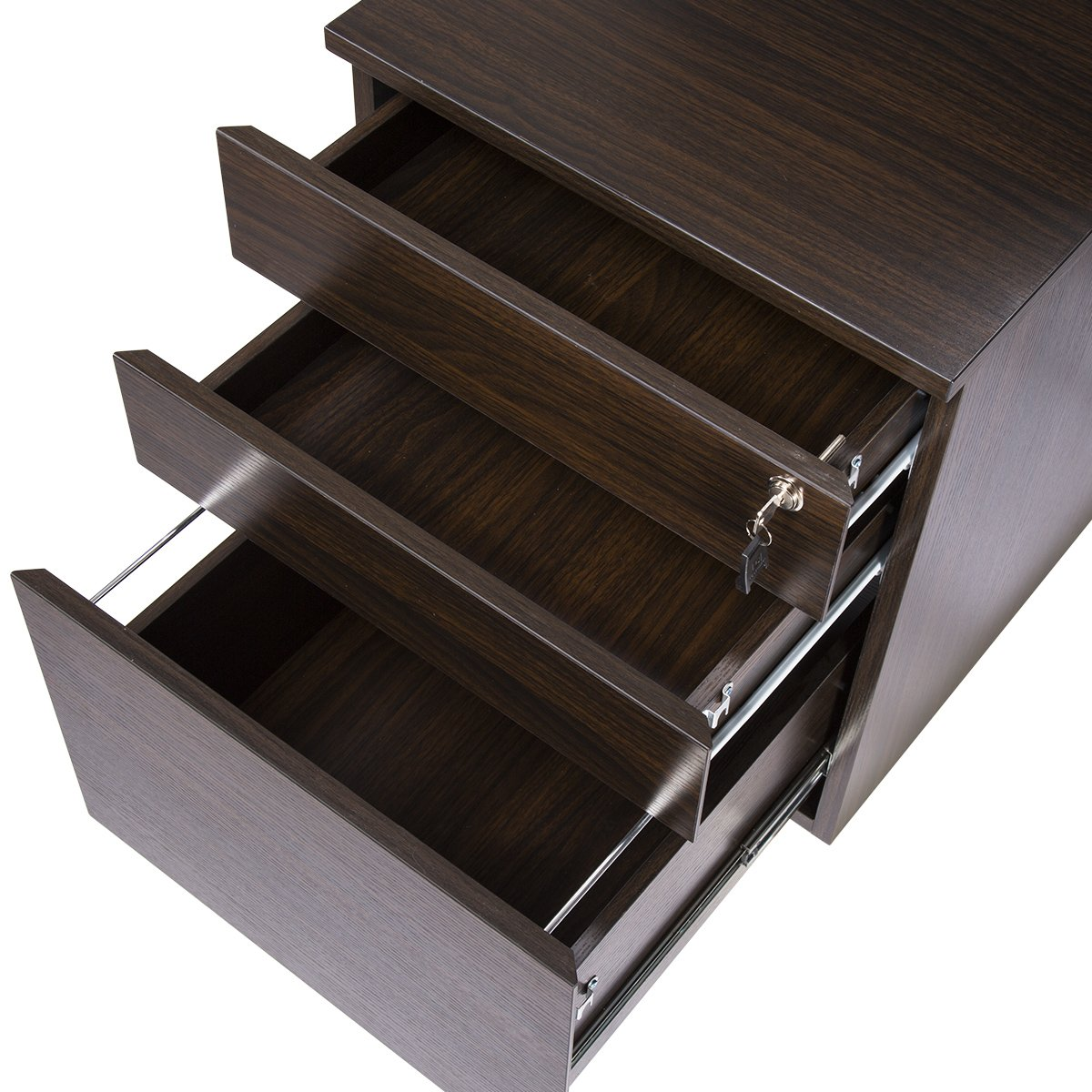 TOPSKY 3 Drawer Wood Mobile File Cabinet Fully Assembled Except Casters (WALNUT) by TOPSKY (Image #3)
