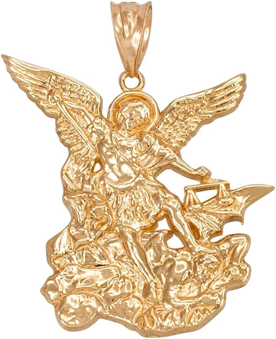 LA BLINGZ 10K Yellow Gold Saint Michael Religious Pendant