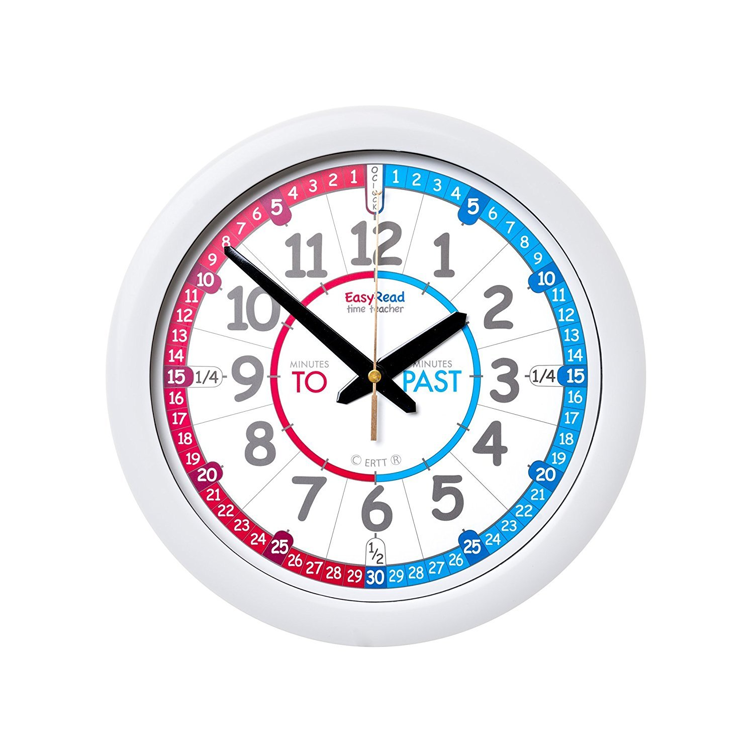 EasyRead Time Teacher Children's Red Blue Wall Clock, Past & To format with silent movement. Learn to tell the time in 3 simple steps, for children age 5+ B06XY4GVXB 15675