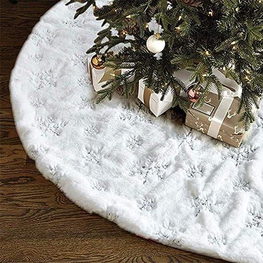 YAOBAO Árbol de Navidad Falda - 41 Pulgadas Plata Blanca del Copo ...