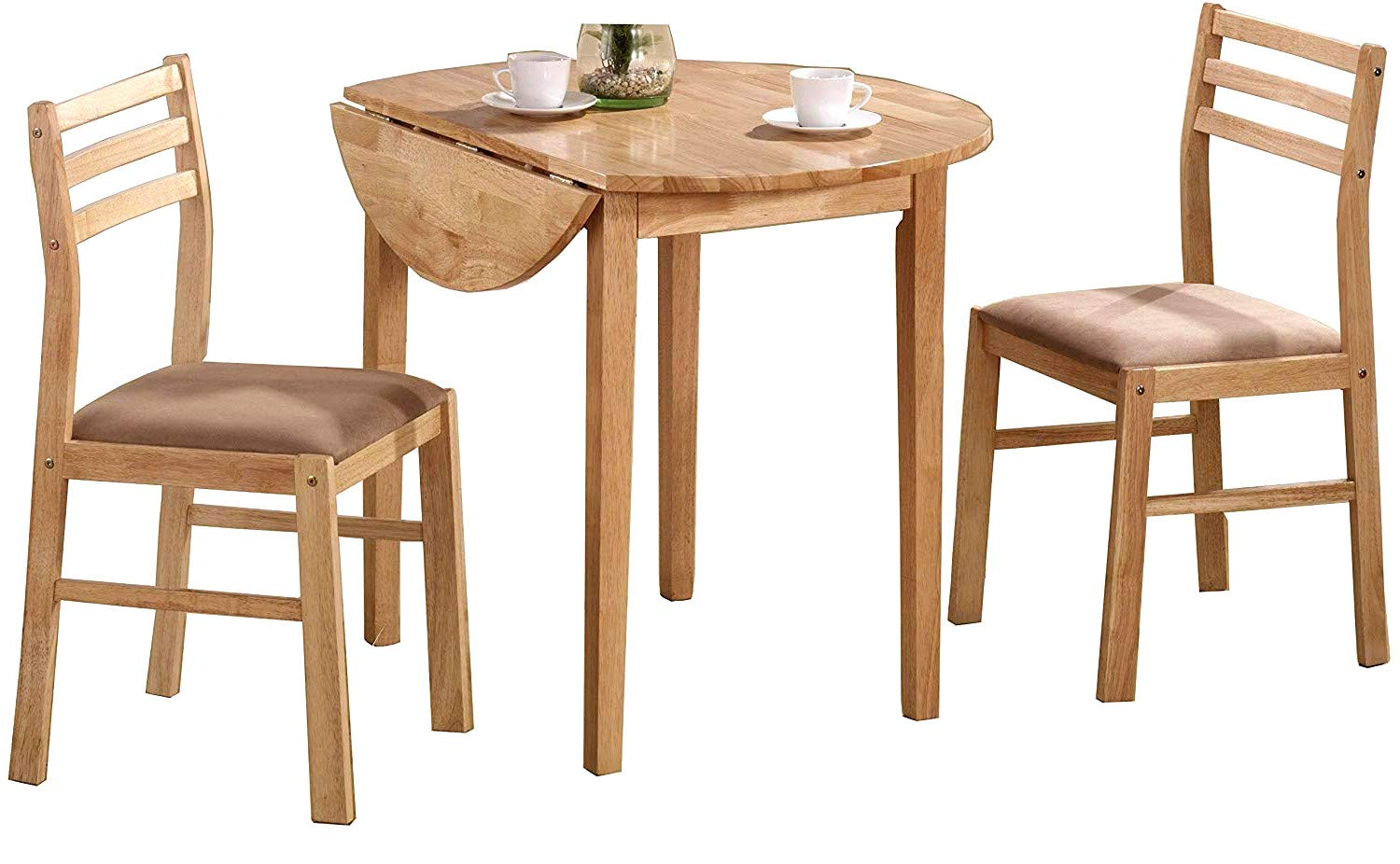 3pc Bistro Set Dining Pair of Chairs & Round Drop Leaf Table Comfortable Seats for Indoors Kitchen Dining Living Room Natural Padded Cushion Seats Back Support Home Furniture & eBook by Easy&FunDeals