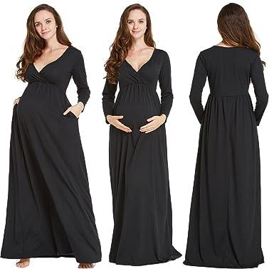 738101ebd6eab Funfreeyer Maternity Maxi Dress Gowns Pregnancy Robe Long Sleeve Nursing  Dress for Photography (Small,
