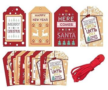 Amazon.com: 40 etiquetas de regalo para Navidad, Navidad ...
