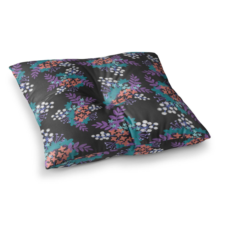 Kess InHouse Pellerina Design Bohemian Greenery Multicolor Pink Watercolor 23 x 23 Square Floor Pillow