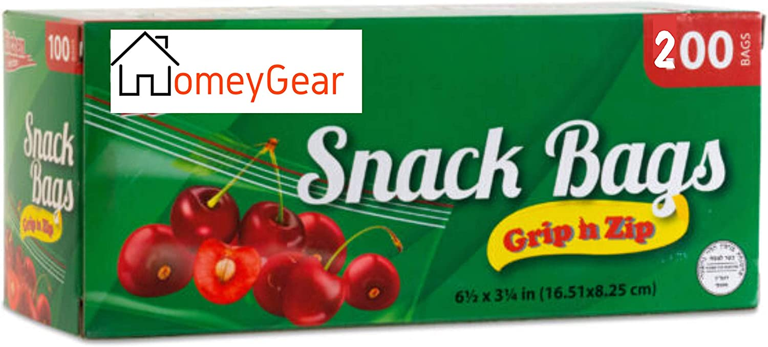 HomeyGear Grip N Zip Disposable Resealable Plastic Snack Zipper Bags 200 Ct Premium Quality Seal for Home School Office Travel