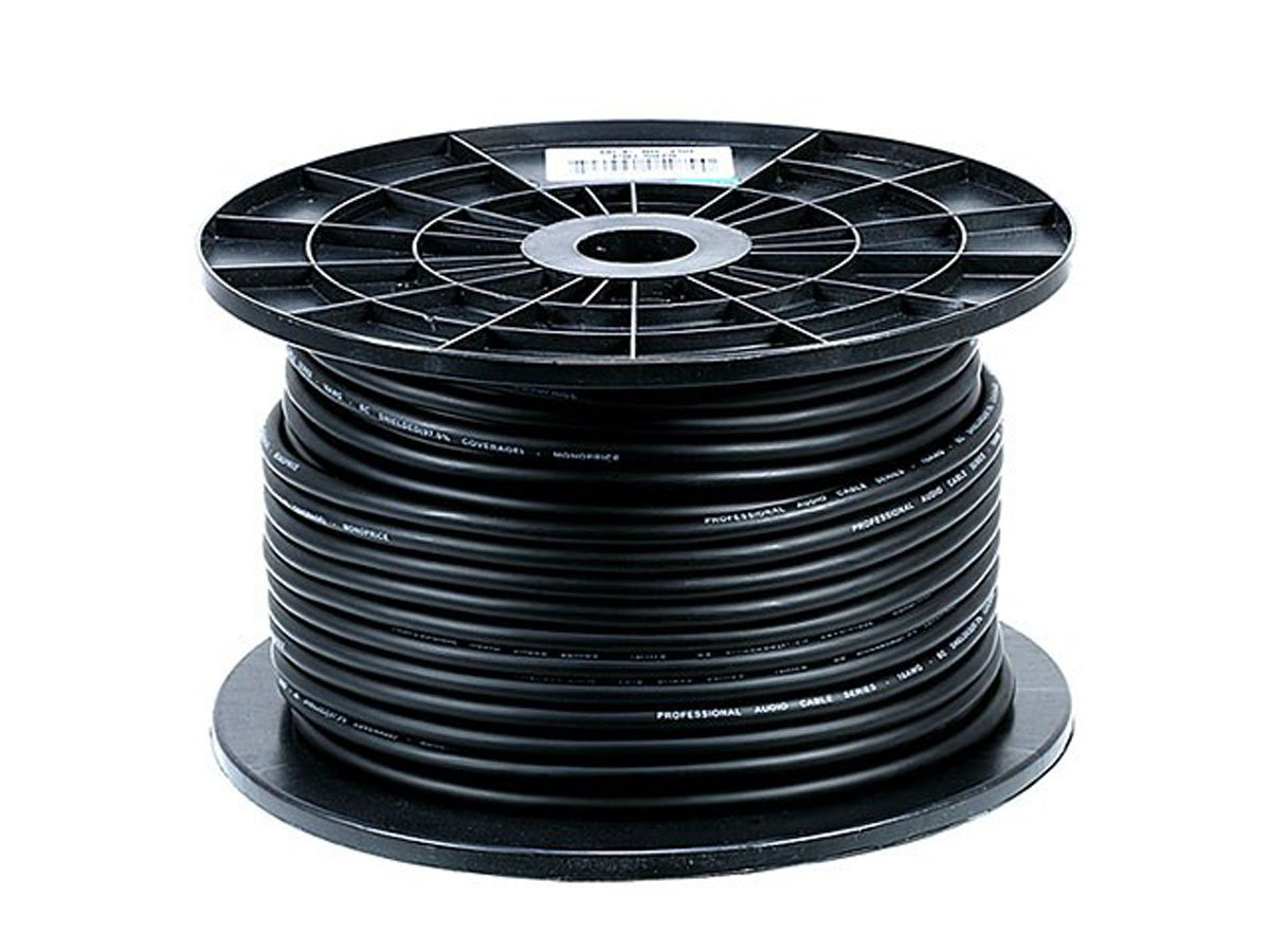 Monoprice 8.0mm Professional Microphone Bulk 16AWG Cable Cord - 250 Feet- Black with High-Purity, Oxygen Free Copper Conductors and Braided Copper Shield