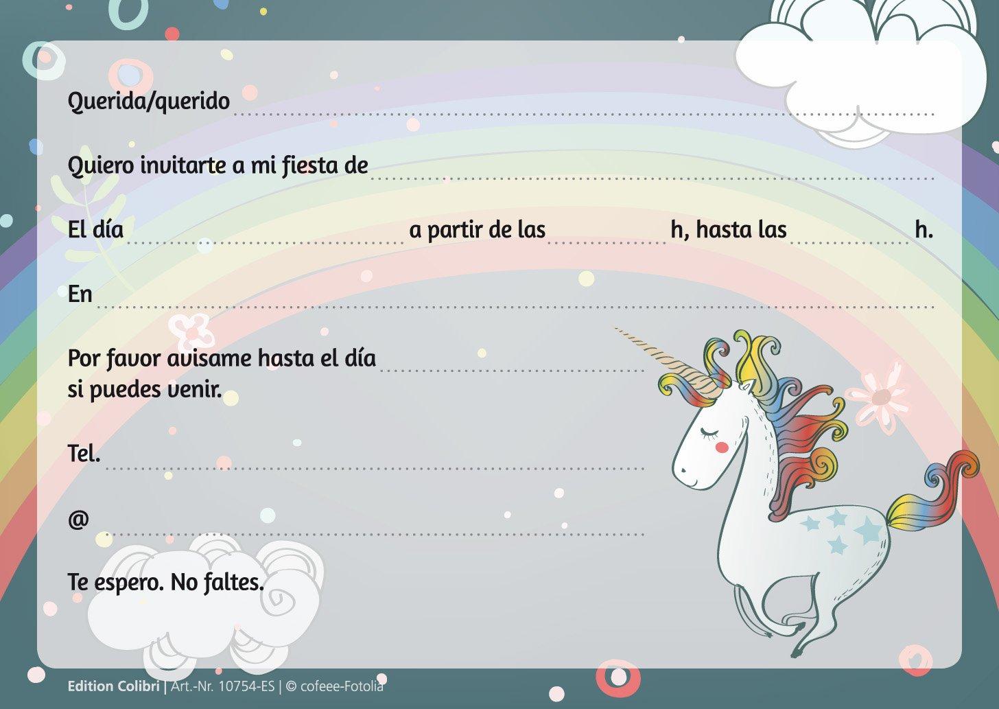 """Edition Colibri 10 Invitaciones en español """"Unicornio"""" (Jgo.1): Juego de 10 Invitaciones tiernamente ilustradas con Unicornios para el cumpleaños de ..."""