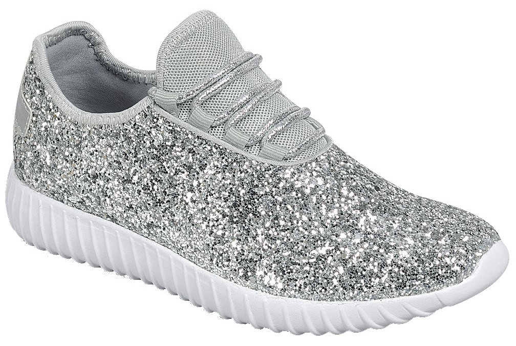 Cambridge Select Women's Closed Toe Glitter Encrusted Lace-up Casual Sport Fashion Sneaker B07D2JQ16T 7 B(M) US|Silver
