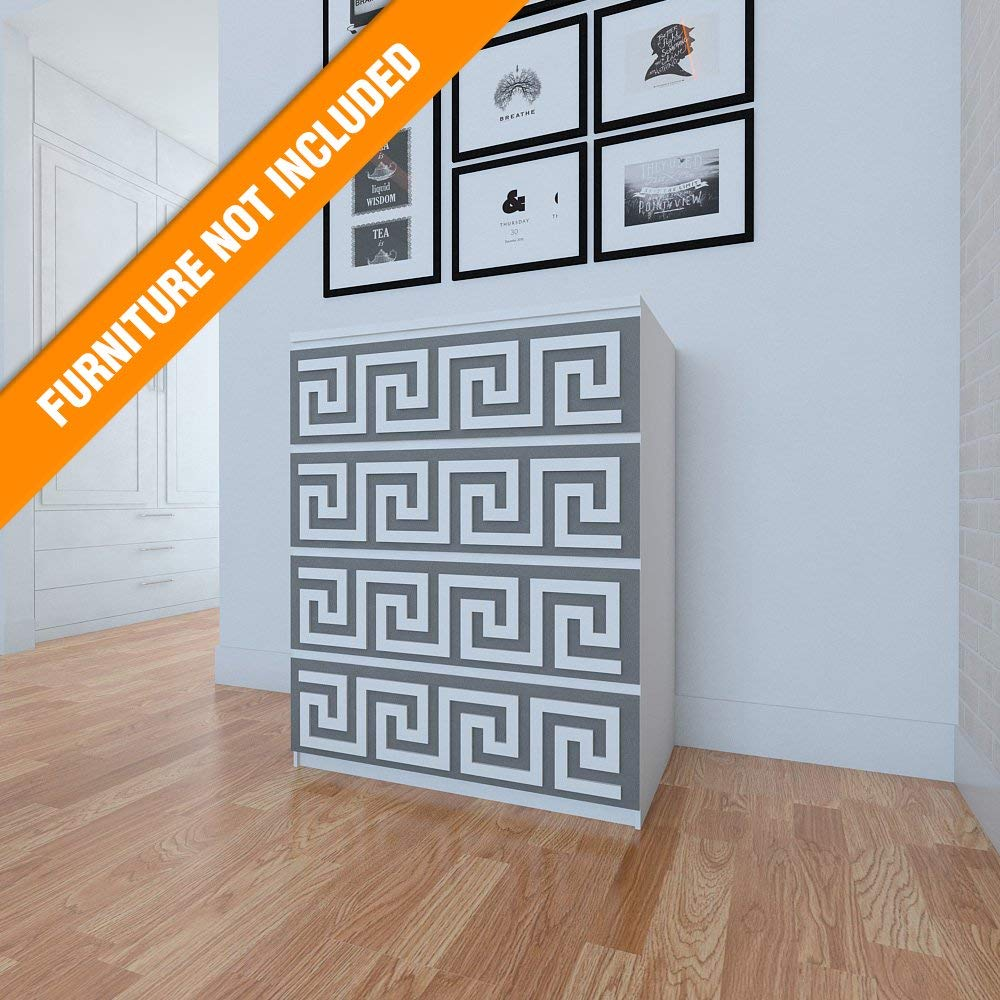 HomeArtDecor   Greek Key Pattern Overlay   Suitable for IKEA Malm   31.49 x 7.87 inches   Color: White   Modern Furniture Decoration   Handmade Fretwork Overlay