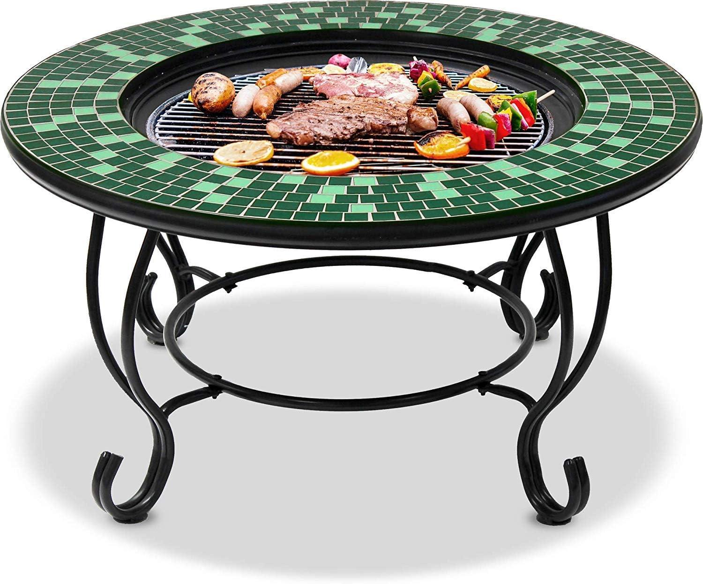 Barbecue et Seau /à Glace avec Carreaux de mosa/ïque en Verre Vert /émeraude et Noir Homeology Aviator Brasero de Jardin et terrasse avec Table Basse