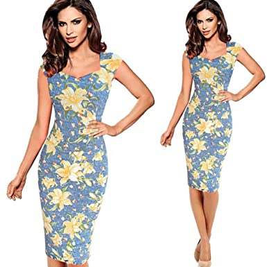 Minisoya Women V Neck Floral Pencil Dress Casual Sleeveless Formal Evening Party Cocktail Business Knee-