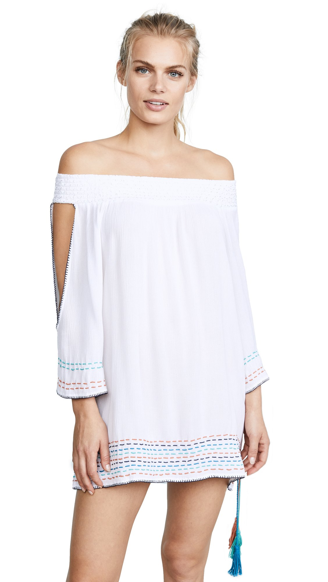 OndadeMar Women's Solids Short Dress, White, Large