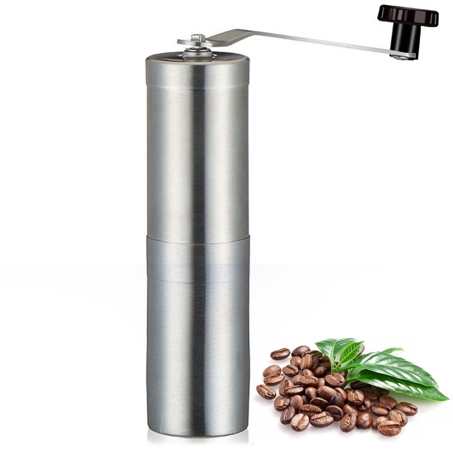 Manual Coffee Grinder, Hand Crank Mini Portable Coffee Bean Grinding - Adjustable Conical Ceramic Burr Mill, Great for Home, Travel & Camping - Stainless Steel