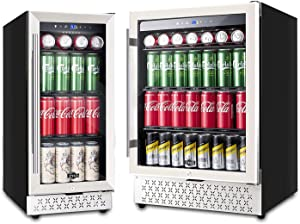Beverage Refrigerator Under Counter 15 & 24 Inch, 130 Can or 190 Can Beverage Cooler Fridge Built-in/Freestanding with Glass Door and Advanced Cooling Compressor for Beer and Soda or Wine, LOW NOISE