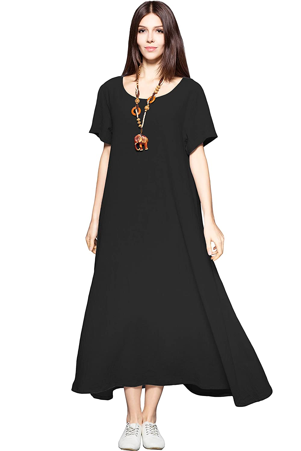 Anysize Side Pockets Linen Cotton Soft Loose Dress Spring Summer Plus Size  Clothing F131A