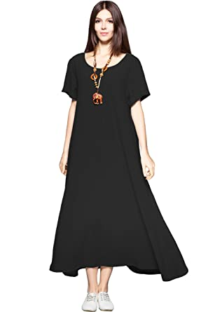 170f0744ea Anysize Side Pockets Linen Cotton Soft Loose Dress Spring Summer Plus Size  Clothing F131A Black