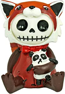 SUMMIT COLLECTION Furrybones Reddington Signature Skeleton in Red Panda Costume Holding a Black and White Panda Doll