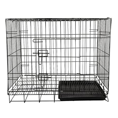 Hifeel - Jaula Plegable de Metal para Perro, 2 Puertas, Jaula para Mascotas o