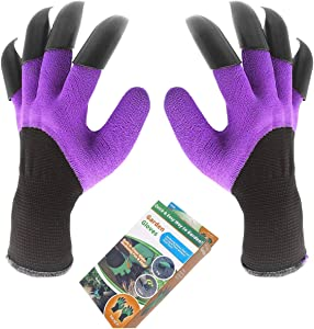 Garden Genie Gloves, Inf-way Sturdy Claws Gardening Gloves, Quick & Easy to Dig & Plant, Safe for Rose Pruning - As Seen On TV (Purple Right + Left Claws 1 pair)