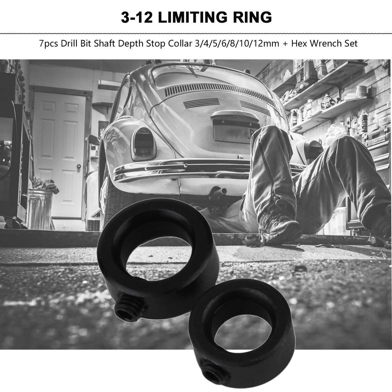 COLOR: negro Durable 7 piezas Broca para carpinter/ía Profundidad de eje Collares de tope Posicionador de anillo Localizador Taladros Dispositivo de sujeci/ón 3-12 mm