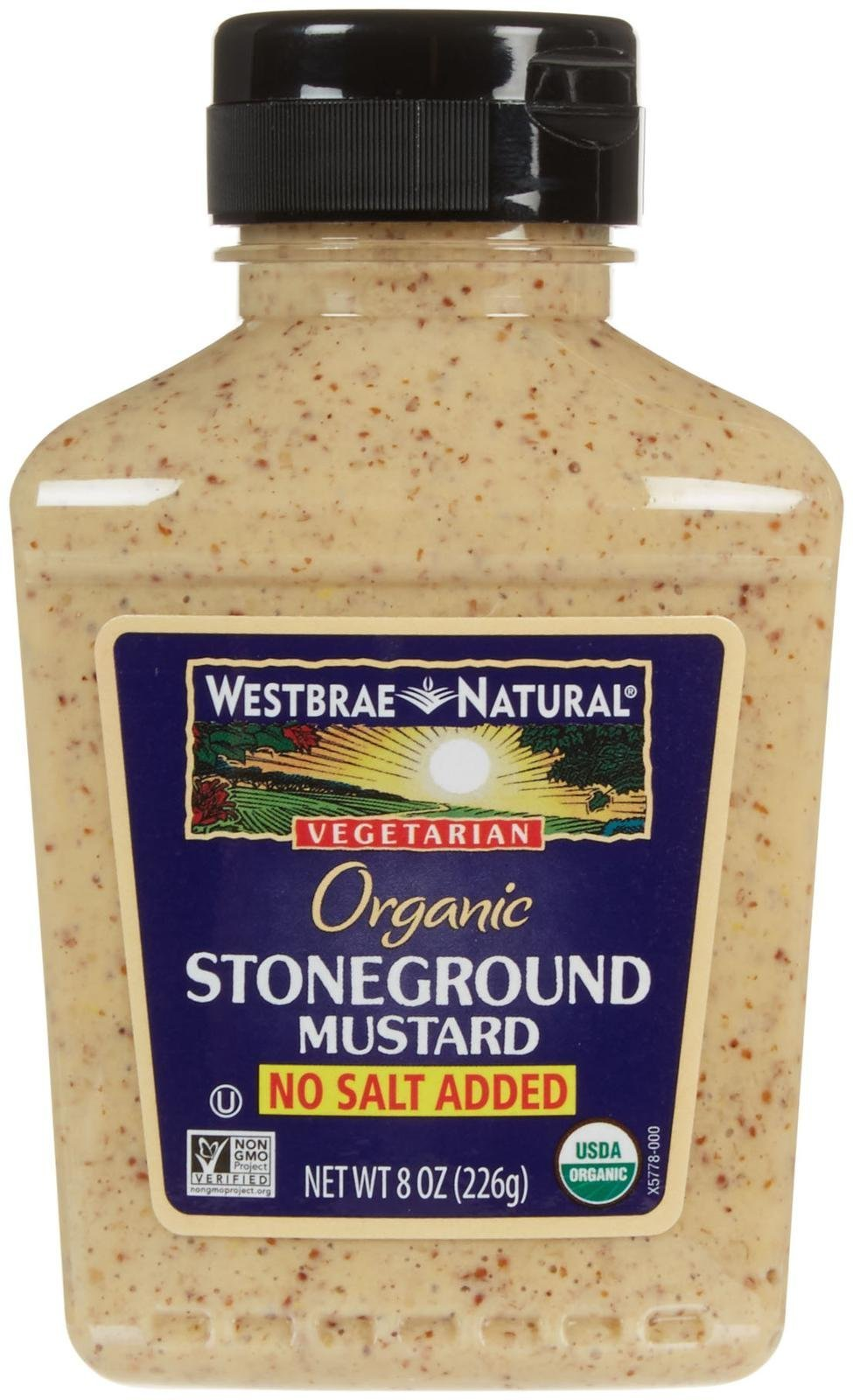 Westbrae Organic Stoneground Mustard No Salt Added, 8 Ounce