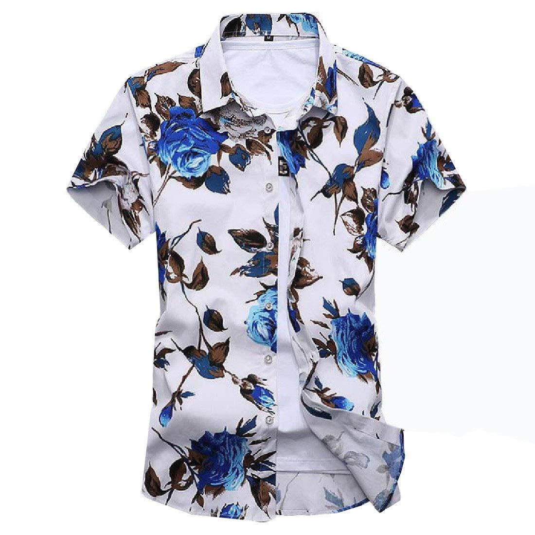 Andopa Mens Short Sleeve Button Cotton Turn-Down Collar Plus Size Shirt