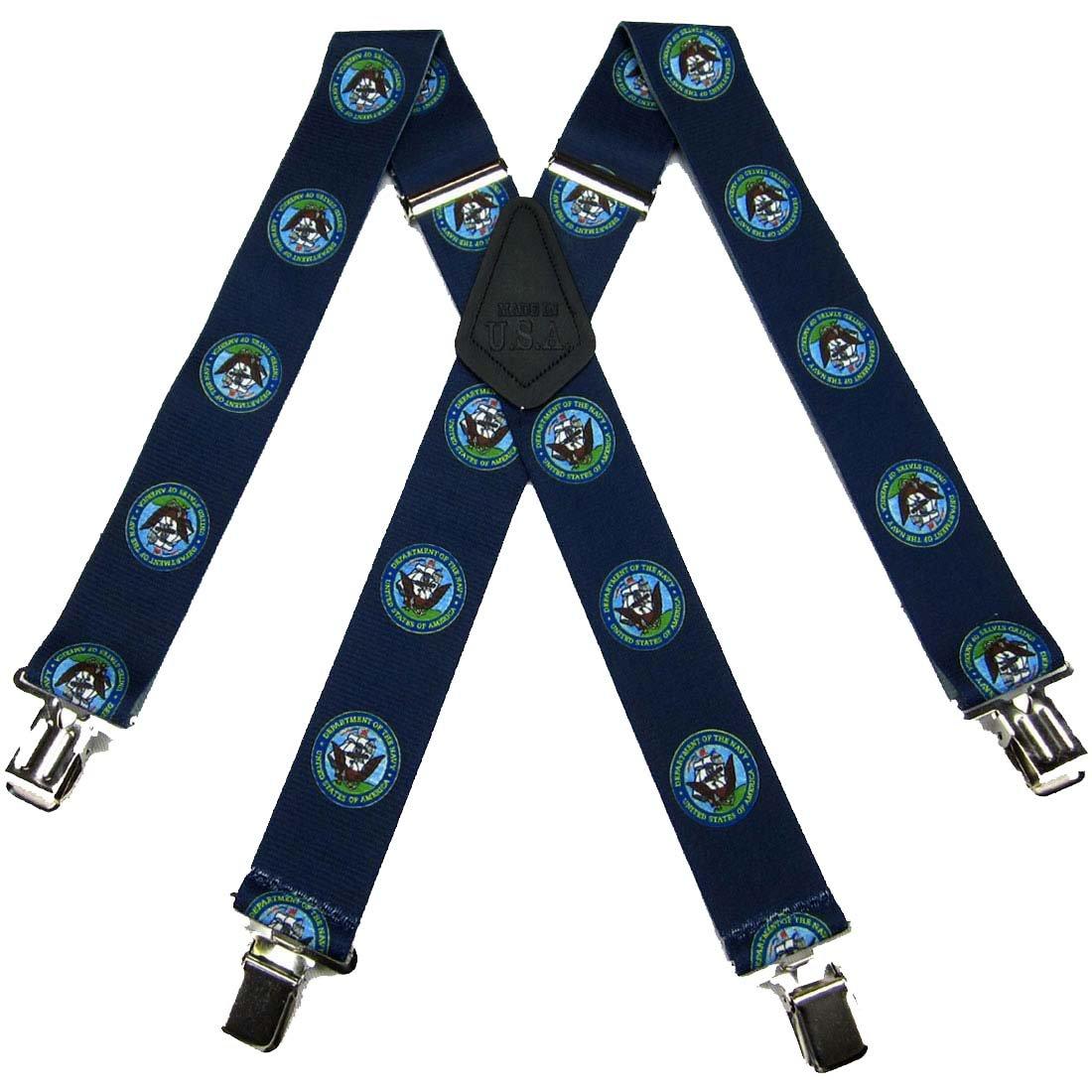 SUS-351-NANA - Navy Novelty Themed Clip X-BACK Suspenders