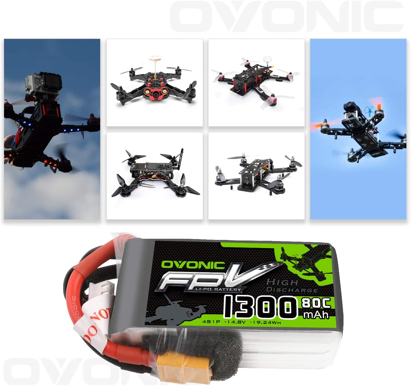 Ovonic 80C 550mah 4S 14.8V Lipo Akkus mit XT30 Plug für FPV quad Drone RC