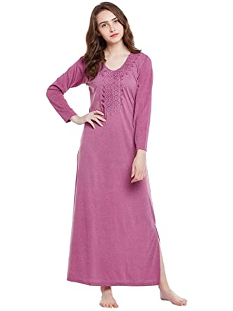 Claura Milanch Cotton Full Sleeve Nighty Or Nightdress for Winter ... 37f008f68d