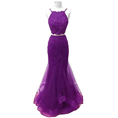 EvaQueen Womens Mermaid Lace Straps Sweep Train Two Piece Beading Prom Dresses Ball Gowns