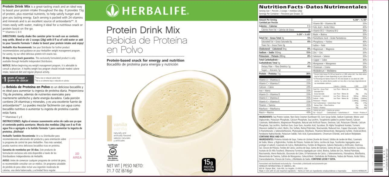 Herbalife Protein Drink Mix - Vanilla Flavored Soy Protein (616 g / 21.7 oz) - Healthy Low Carb Nutritional Shake/Meal Replacement - Certified Gluten Free by Herbalife (Image #2)