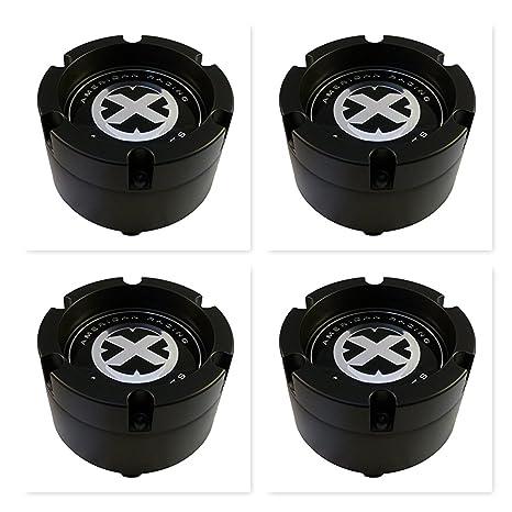 Paquete de 4 tapacubos American Racing ATX 391K132 con 8 lengüetas, color negro, 2