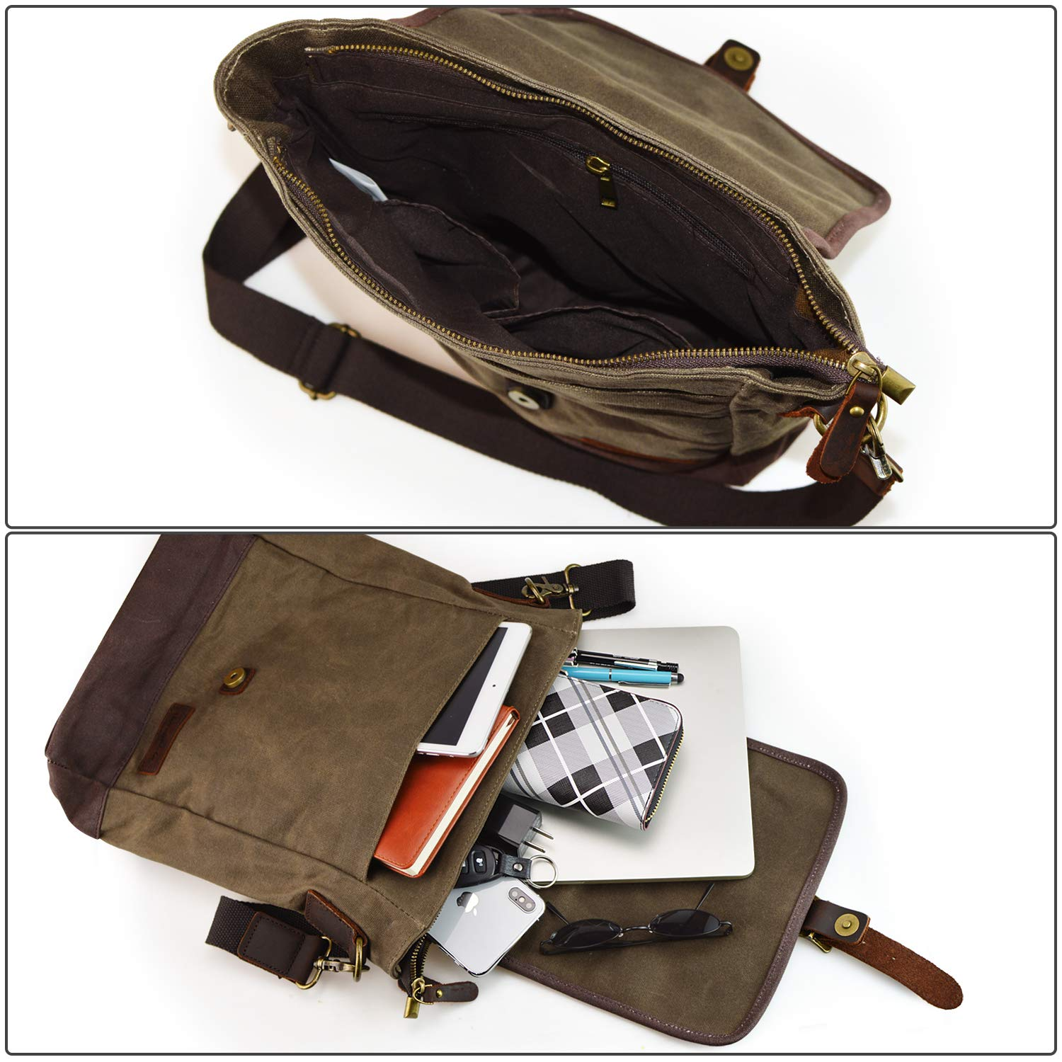 SHANGRI-LA Small Messenger Bag for Men and Women Waxed Canvas Purse Waterproof Crossbody Satchel Bag Sling Pack