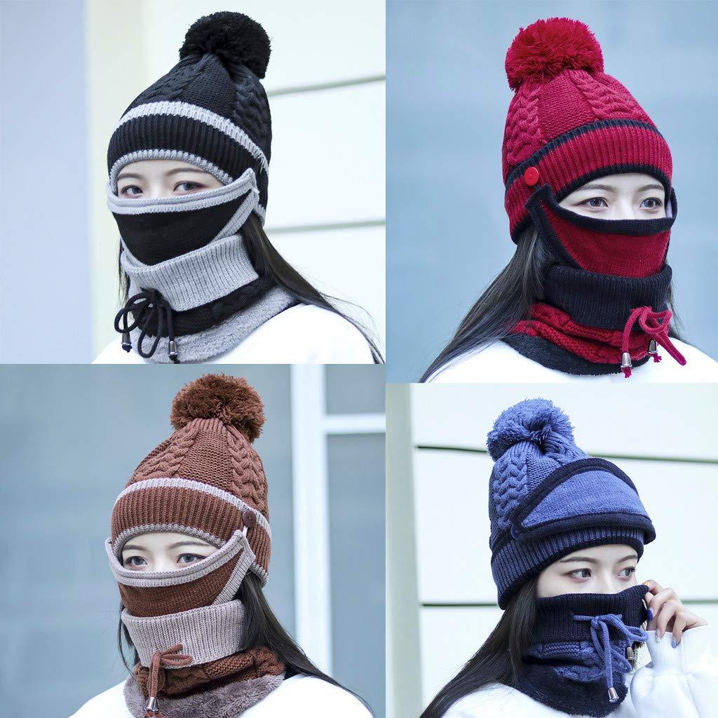 Fashion Womens Winter Hair Ball Neckwear Plus Velvet Thick Knit Warm Hat