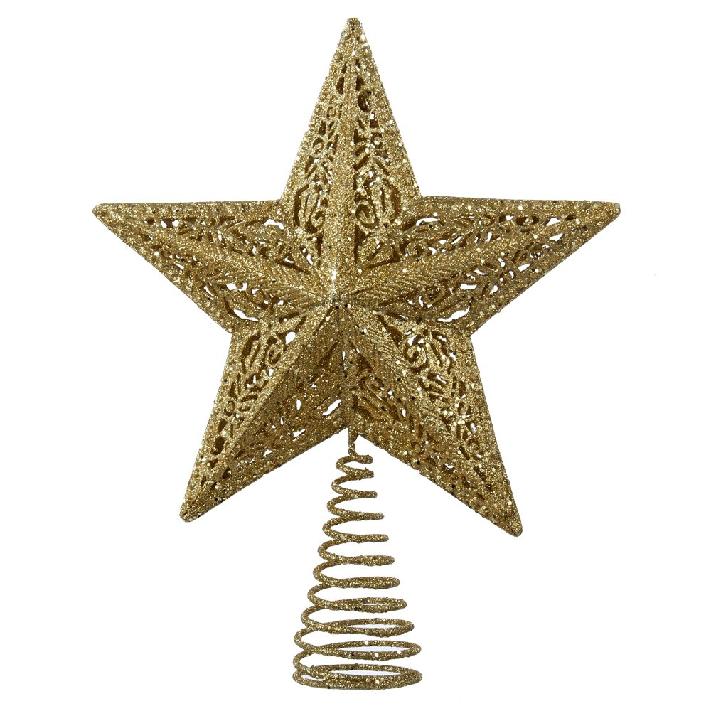 Kurt Adler Leaf Star Treetop, 10-Inch, Gold H9126