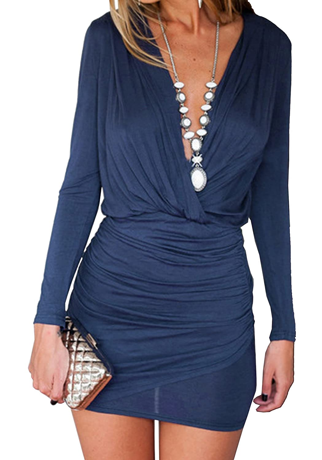 KaKing Women's Long Sleeve Ruched Deep V Neck Sexy Mini Bodycon Party Dress