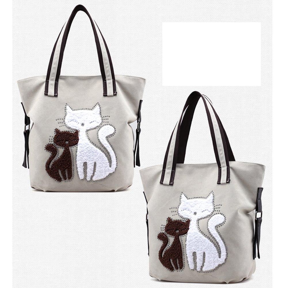 MIFXIN Womens Cat sur Toile Sac /à bandouli/ère en Toile Sac /à Main fourre-Tout Sac /à bandouli/ère/ /Lady r/étro Sacs /à Main d/écontract/& /Plage de Voyage Sac /à Main/