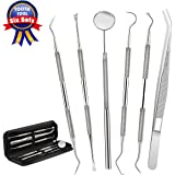 Dental Tools,Patekfly Stainless Steel 6 PACK Dental Pick Dental Floss , Dental Hygiene Tool Set,Tooth Scraper Plaque Tartar Remover Dental Tweezers Gum Floss for Personal Oral Care & Pet Use