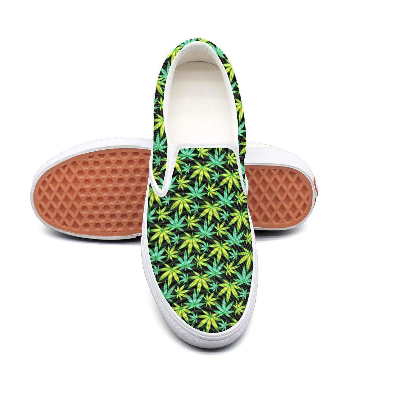 Sernfinjdr Women's Cannabis Green Leaf Fashion Casual Canvas Slip on Shoes Fashion Cycling Sneaker Shoes