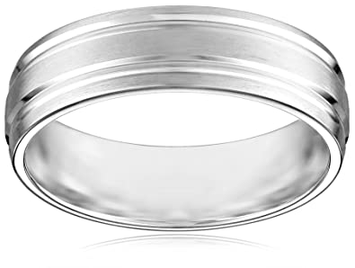 10k white gold 6mm comfort fit wedding band with satin finish and two high polished center