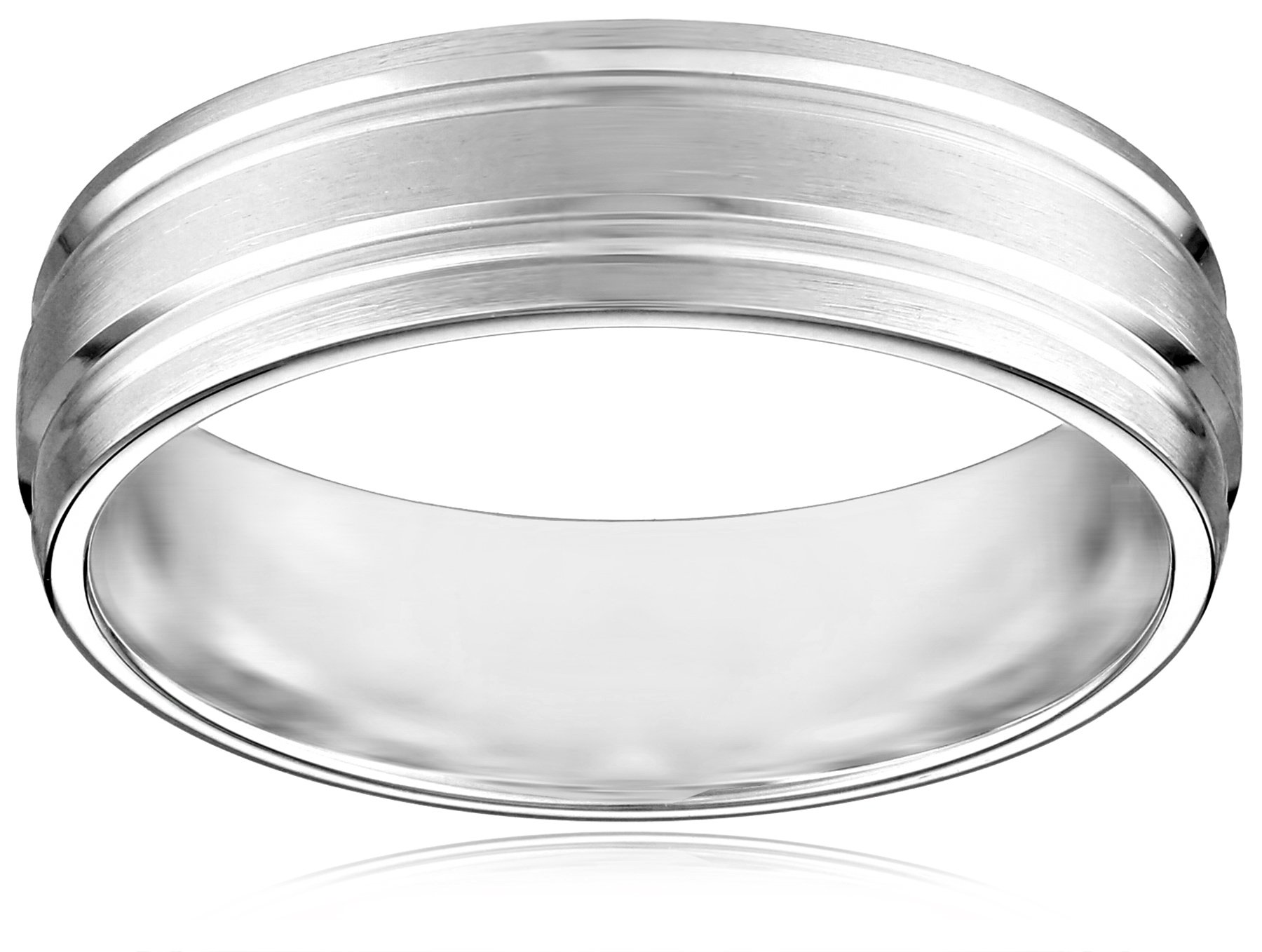 10k White Gold 6mm Comfort Fit Wedding Band with Satin Finish and Two High Polished Center Cuts, Size 11.5