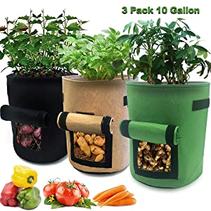 3 Pcs 10 Gallon Garden Boxes, Easy to Harvest, Planter Pot with Flap and Handles, Garden Planting Grow Bags for Potato Tomato and Other Vegetables. Breathable Nonwoven Fabric Cloth.