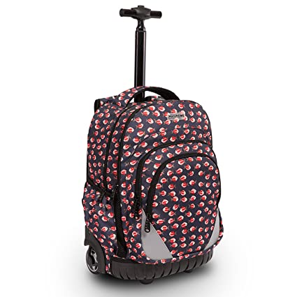 8a92b4a42b Image Unavailable. Image not available for. Color  18 inches  Multi-Compartment Waterproof Wheeled Rolling Backpack for Girls Boys School  Students Books Bag