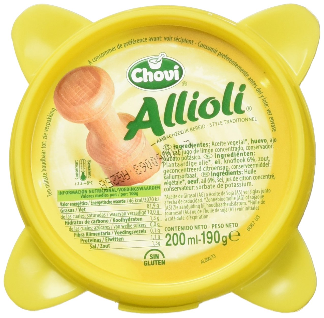 Chovi - Allioli - Salsa Alioli al Estilo Casero - 200 ml - [Pack de 4]: Amazon.es: Alimentación y bebidas